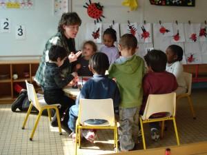 Sylvie Jung en classe de PS